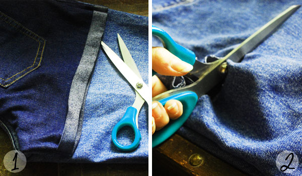 DIY high waisted distressed denim shorts: Steps 1 and 2