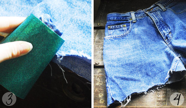 DIY high waisted distressed denim shorts: Steps 3 and 4