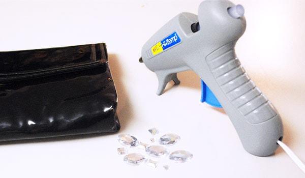 DIY embellished clutch supplies