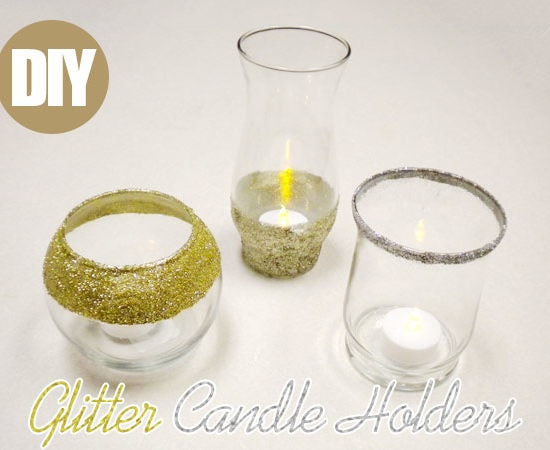 DIY Holiday Decor: Glitter Candle Holders