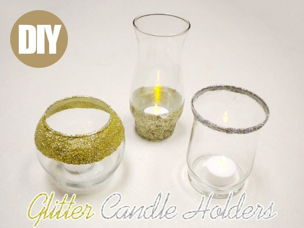 DIY Glitter Candle Holders: Finished product