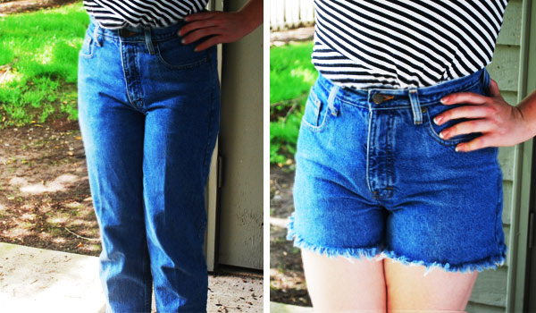 DIY high waisted denim shorts