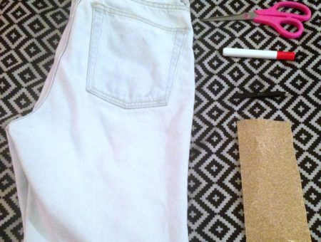 DIY distressed jeans materials