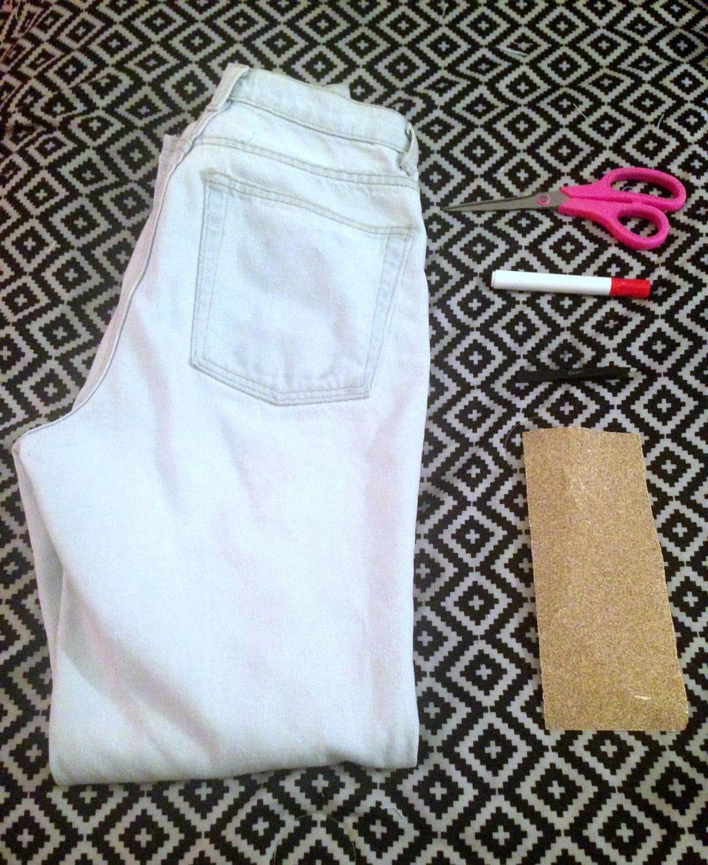 DIY distressed jeans materials