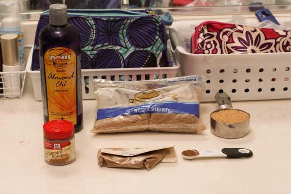 DIY pumpkin spice sugar scrub ingredients