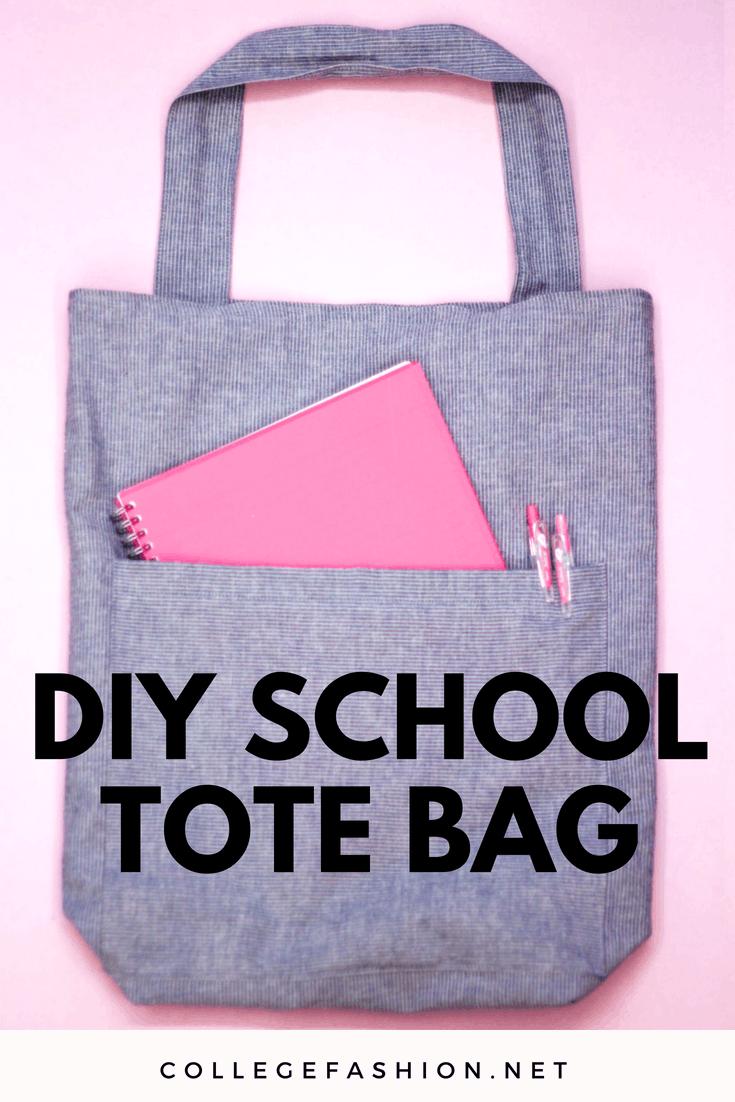 DIY school tote bag tutorial