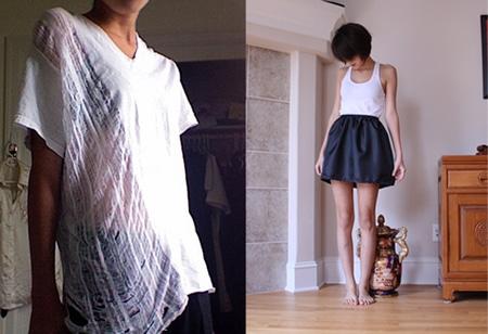 DIY Shredded Tee and Puff Skirt