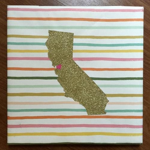 Diy state glitter art