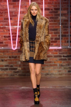 DKNY Fall Tweed Skirt with Faux Fur