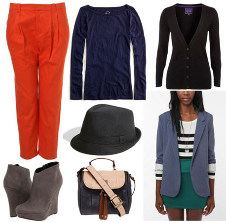 DKNY Fall 2011 Outfit 1: Red pants, blue blazer, black top, fedora, wedge booties