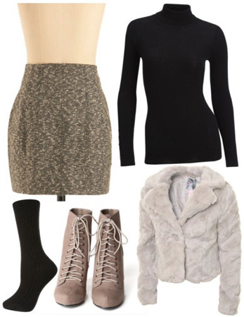 DKNY Fall 2011 Outfit 2: Taupe skirt, black top, fur jacket, booties