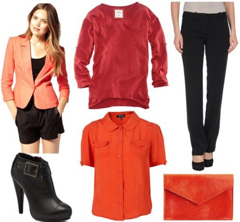 DKNY Fall 2011 Outfit 3: Red sweater, blazer, black pants, booties