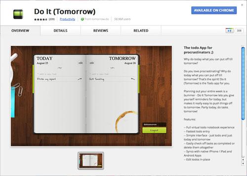 Do It (Tomorrow) app for Chrome
