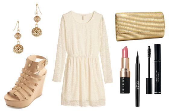 Dolce white lace dress wedge sandals