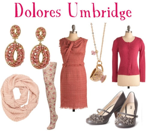Outfit inspired by Dolores Umbridge's style in Harry Potter and the Deathly Hallows Part 1