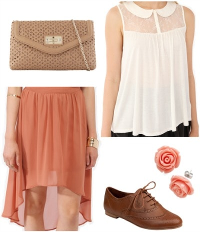 Outfit inspired by Dorothy from The Wizard of Oz: Cream blouse, high-low skirt, oxfords, clutch, retro flower earrings