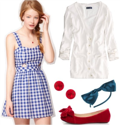 Outfit inspired by Dorothy from The Wizard of Oz: Gingham sundress, white cardigan, red flats, earrings