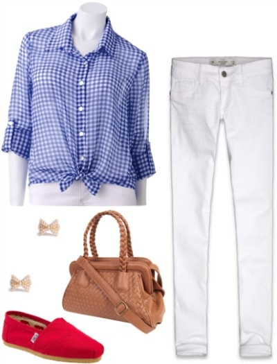 Outfit inspired by Dorothy from The Wizard of Oz: Checkered button-up shirt, white jeggings, red toms, woven satchel