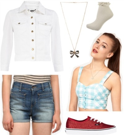 Outfit inspired by Dorothy from The Wizard of Oz: Gingham crop top, high-waisted denim shorts, white jean jacket, red glitter sneakers, ruffle socks