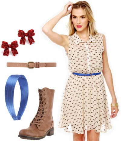 Outfit inspired by Toto from The Wizard of Oz: Cute dress, combat ankle booties, belt, satin headband, bow earrings