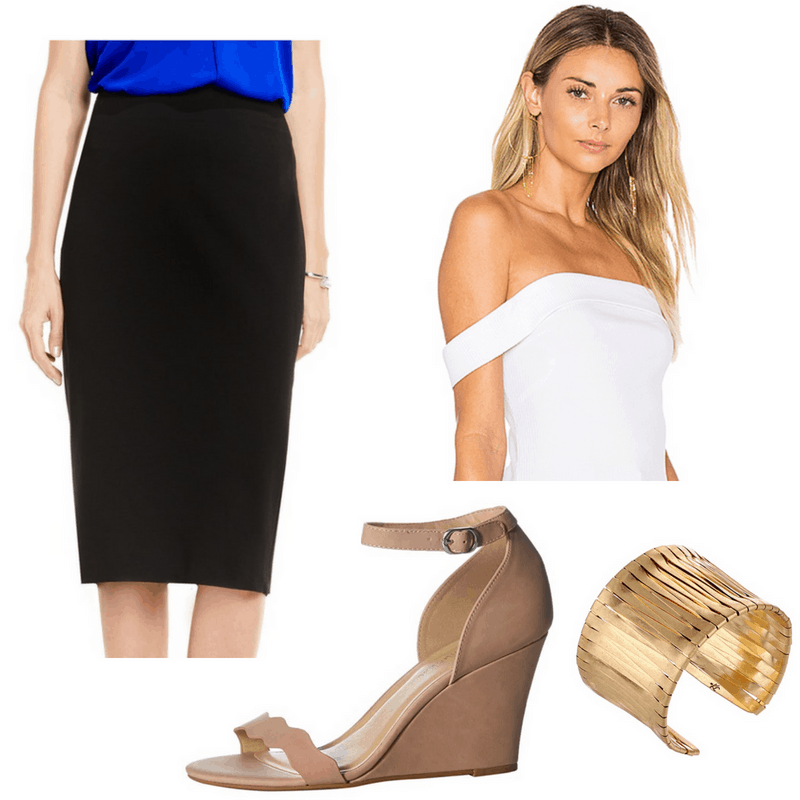 Dorothy Dandridge style: Outfit inspired by Dorothy Dandridge with pencil skirt, off-shoulder top, ankle strap wedges, and chunky bracelet
