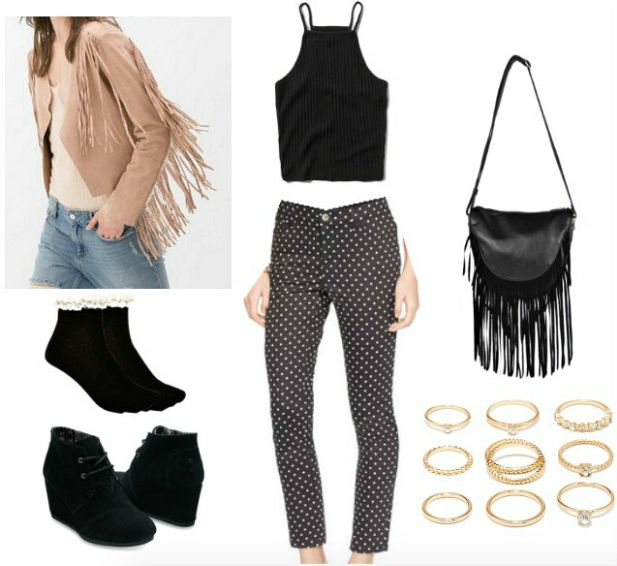Polka dot pants and fringe