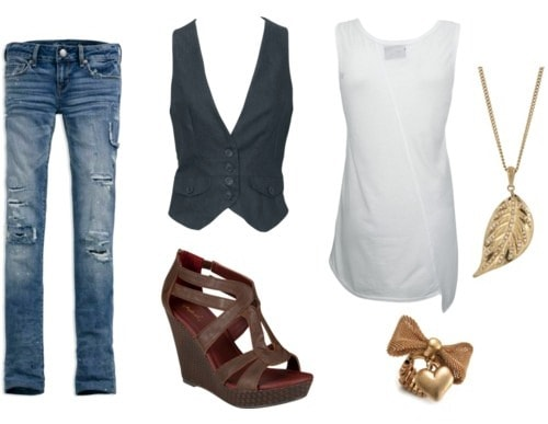 Double denim outfit - distressed jeans and a vest