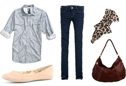 Double denim outfit - chambray shirt and jeggings