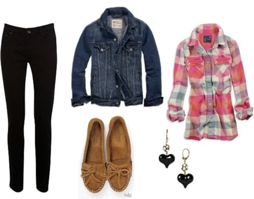 Double denim outfit - black jeans and a denim jacket