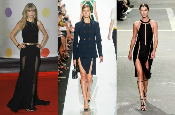 Double slit trend taylor swift, michael kors spring 2013, alexander wang spring 2013