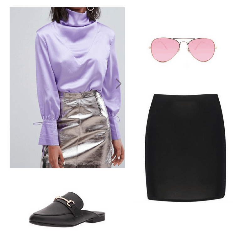 An outfit set of a lavender satin long-sleeved top, a black mini skirt, pink aviators and back mules.