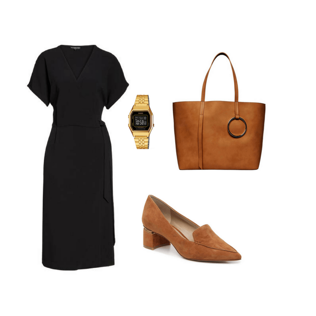 Fashion interview outfit: wrap dress, watch, heels, tote bag