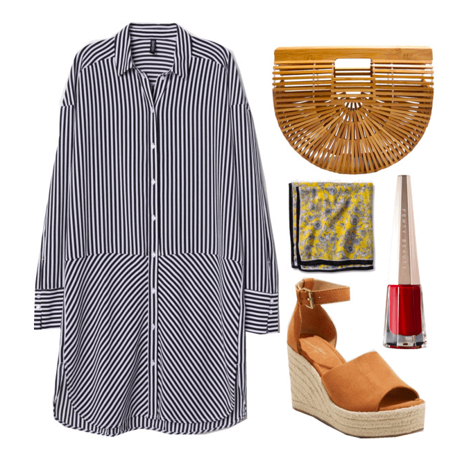 Polyvore set including: blue and white striped dress, a wooden clutch, a floral neck scarf, a pair of espadrille wedges, and fenty lipstick.