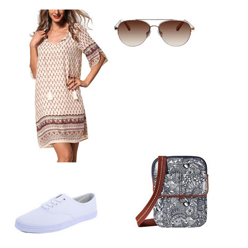 Outfit with printed bohemian dress, white sneakers, aviator sunglasses, and floral messenger bag