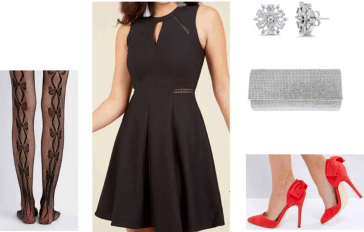 holiday party outfit ideas 1: Dressed up little black dress with red heels, patterned tights, snowflake earrings, and a glitter clutch