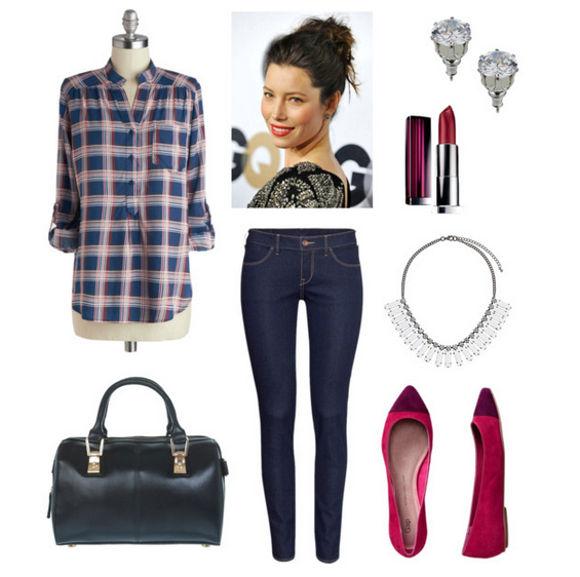 Dressy plaid dark skinny jeans