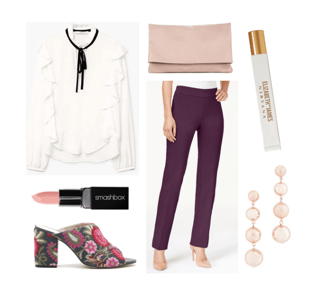 What to wear out with coworkers: Outfit for drinks after work with ruffled blouse, colored trousers, floral mules, pink clutch