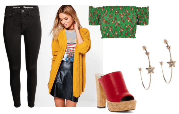 Cute summer outfit idea inspired by Drippy from Ni No Kuni: Wrath of the White Witch: Black skinny jeans, green and red printed off the shoulder crop top, mustard yellow boyfriend cardigan, star hoop earrings, chunky cork platforms with red uppers