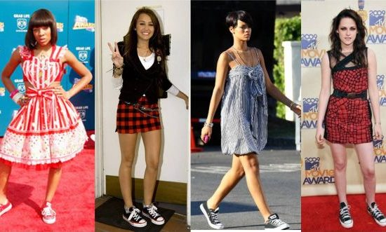 Celebrities like Miley Cyrus and Rihanna wearing sneakers with skirts and dresses