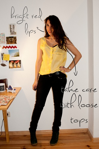 sheer yellow top outfit