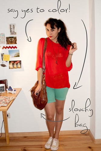 casual outfit with sheer red top and mint shorts