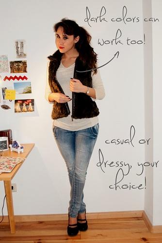 sheer white top, jeans, faux fur vest