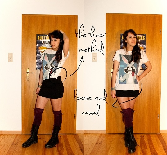 how to wear a boyfriend tee with a skirt and knee high socks