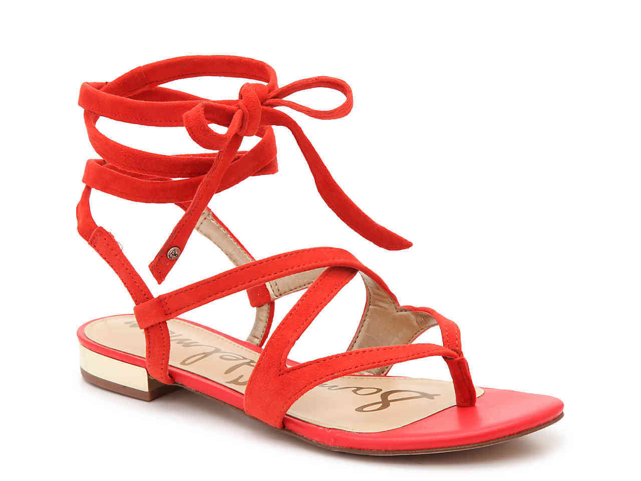 DSW red lace up sandals
