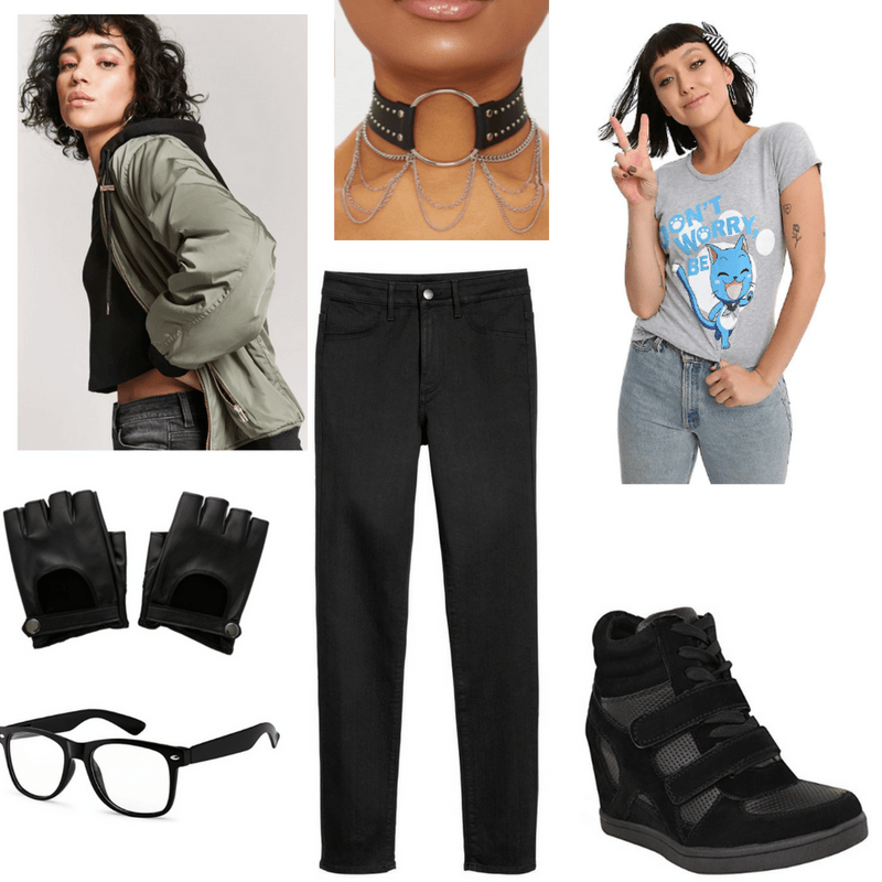Dubstep-inspired outfit with bomber jacket, chain choker, graphic tee, jeans, fingerless gloves, wedge sneakers, and glasses