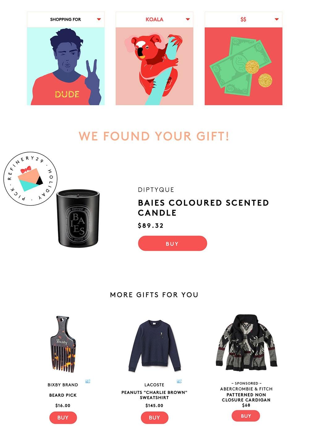 Gift curator test run on fiancee