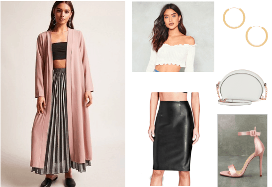 Duster coat outfits: How to style a duster coat for a night out with black faux leather skirt, pink heels, white crop top with long sleeves, white chain strap bag and gold earrings
