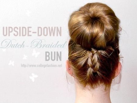 Upside-down dutch braided bun