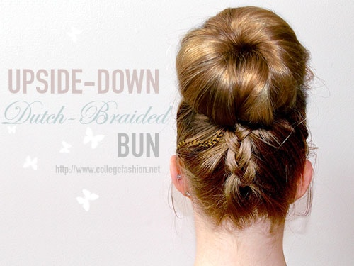 Upside-down dutch braided bun