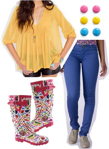 Dylan's Candy Bar-inspired outfit 1: Bright blouse, colorful skinny jeans, rain boots